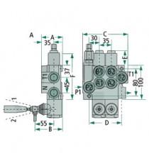 DISTRIBUITOR  P40 1x DW (A-B inchisa - mecanism cu arc